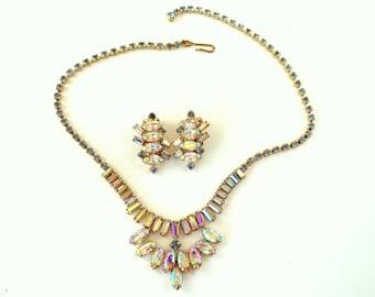 Crystal Aurora Borealis Rhinestone, Light Blue Rhinestone Necklace & Earring Set Gold Tone