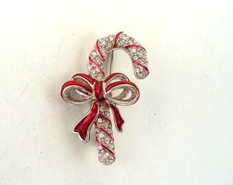 Swarovski Christmas Candy Cane Rhinestone Enamel Brooch Signed