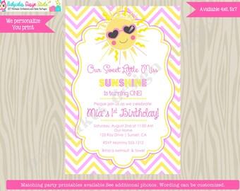 Miss Sunshine Birthday Invitation invite ray of sunshine You Are My Sunshine invitation invite pink yellow chevron printable photo picture
