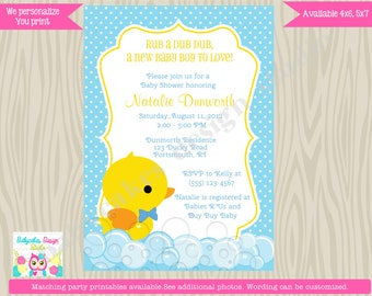 Rubber Ducky Baby Shower Invitation boy rubber duckie rubber duck invitation DIY Print Your Own printable digital