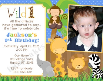 Jungle Animals 1st Birthday Invitation - Safari animals Invitation - DIY Print Your Own - Matching Party Printables available