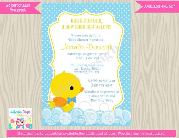 Rubber Ducky Baby Shower Invitation boy rubber duckie rubber duck invitation DIY Print Your Own printable digital