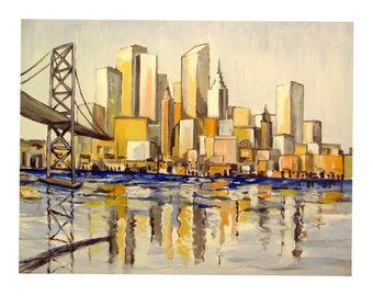 American Cityscape, Urban colors, Buildings Skyline, Water Front, Bridge,Original wall art print , Free Shipping in USA.