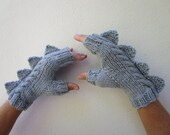 Dragon, dinosaur, monster pale silver grey  fingerless mittens gloves, wool and alpaca,medium female adult's size