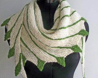 Asymmetric Shawl, Gift for Her, Cream & Green Wrap, Pure Wool Scarf, Handspun Shawlette, Knit Scarf, Cream Green Shawl, Artisan Wrap