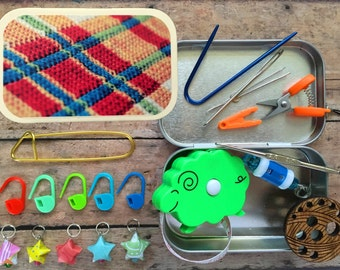 Orange Plaid Knitter's Tool Tin - great gift for people who love knitting!