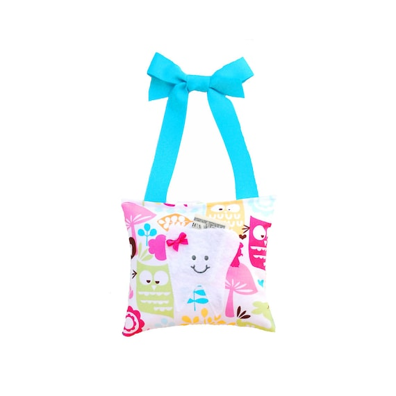 Tooth Fairy Pillow Girls Tooth Fairy Gift Personalized Tooth Fairy Pillow Personalized Kids Tooth Fairy Pouch in Woodland Owl Print