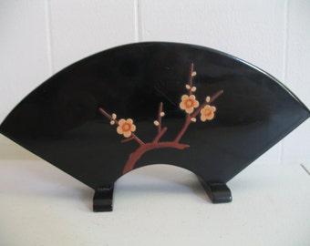 Vintage Black Lacquer Napkin Letter Holder, Dogwood Flower