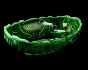 Antique Vintage Green Opalescent Jewel and Fan Pattern Jefferson Glass Bowl L5Y