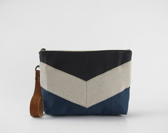 Oatmeal linen chevron teal blue and gray pouch , Design by BagyBags