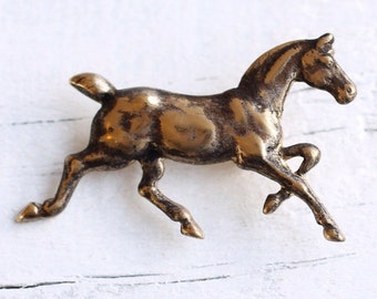 Bronze Horse Brooch ... Vintage Brass Pony Stamping  with Antique Gold Black Patina