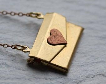 Gold Envelope Locket... Vintage Brass Bridesmaids Necklace Pendant Secret Message