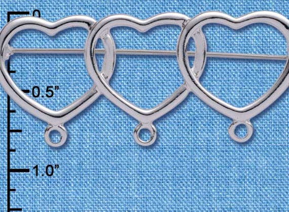 Silver Plated  Three Hearts Charm Pin with Loops, Qty.1