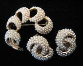 Vintage KRAMER Faux Seed Pearl Brooch and Earrings Set
