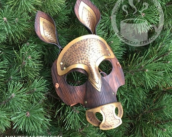 Brassy Armored Horse Mask - Handmade Leather Costume Piece with brass rivets - Celtic Druid Warrior Fantasy Renaissance Masquerade
