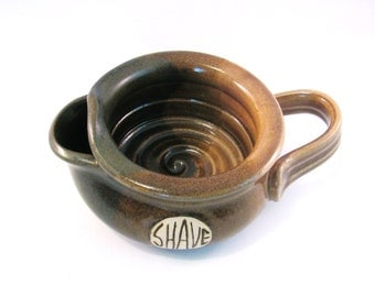Shaving Scuttle - Shave Mug - Lather Bowl - Comfort Hot Shave - Handmade Pottery - Pottersong  - Walnut Brown - Natural Oatmeal Tan