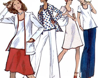 Vogue 8569 Vintage 70s Sewing Pattern for Misses' Jacket, Dress, Top, Skirt and Pants - Uncut - Size 14 - Bust 36