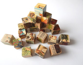 20 Antique French Toy Picture Blocks