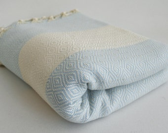 SALE 30 OFF/ Diamond Blanket / Ice Blue / Double Size / Bedcover, Beach blanket, Sofa throw, Traditional, Tablecloth