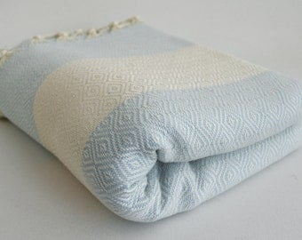SALE 50 OFF/ Diamond Blanket / Ice Blue / Bedcover, Beach blanket, Sofa throw, Traditional, Tablecloth