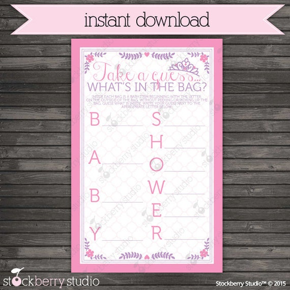 baby shower what 39 s in the bag game princess baby shower games