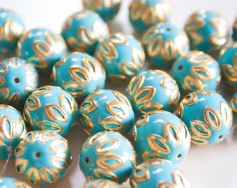 SALE  Turquoise Blue floral spheres - Floral Cloisonné Meena beads (2) 12mm