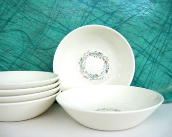 Vintage Berry Bowl Set of 6 Taylor Smith Taylor Fortune Aqua Brown Rust Floral Wreath Feather Homer Laughlin Mid Century