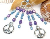 Peace Sign Earrings, Purple Blue Chandelier Dangles, Handmade Inspirational Bohemian Jewelry, Meaningful Symbol, Sterling Silver Hooks