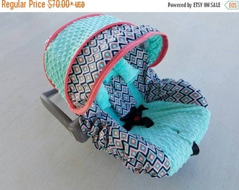 Summer SALE Aztec design in coral and bright mint minky baby car seat cover shown with optional headrest - Infant car seat cover - Custom or