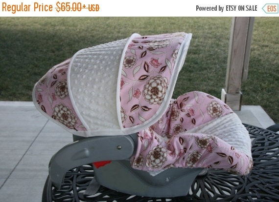 Summer SALE LAST ONE - Pink & Brown Floral with Cream minky- Infant car seat cover - Custom order