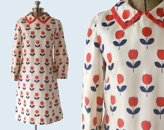 1950s Red Silk Tulip Dress size M