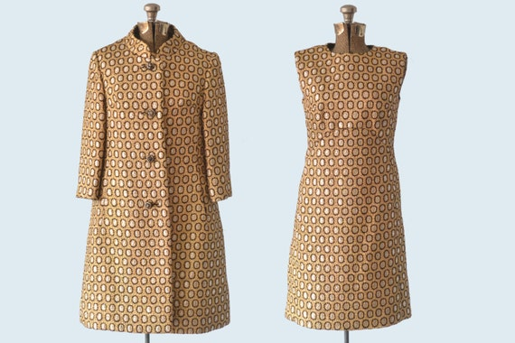 1950s Gold Metallic Paisley Set size M