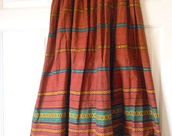 Vintage bohemian embroidered earth tone maxi Skirt
