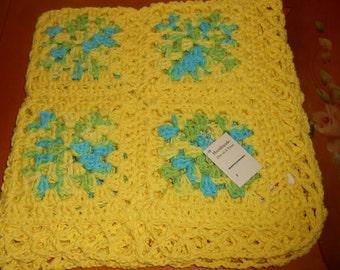 New Crocheted Summer Splash Baby - Lap -  100% Cotton Blanket - Handmade