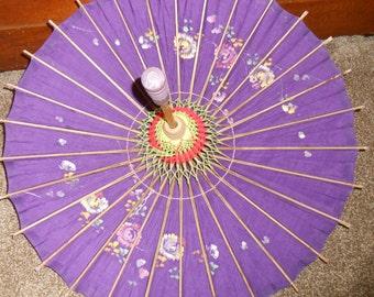 Vintage Purple Fabric Hand Painted Flowers Bamboo Parasol Umbrella