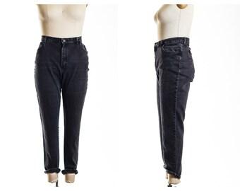 Vtg 80's Black High Waist Stretchy Skinny Leg Jeans size 18