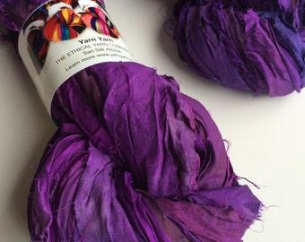 Silk sari ribbon, 100g, premium quality sari silk, ribbon yarn, very rich plum. Knitting, jewellery making and more.
