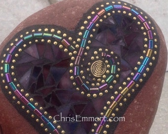 Purple Mosaic Rock, Gardener Gift, Home Decor, Mosaic Garden Stone
