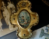 Vintage  Small Italian Florentine Gold Gilt Frame / Marie Antoinette Style / Wood Italian Plaque
