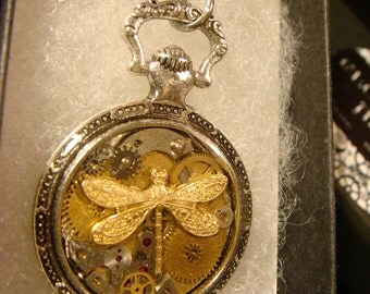 Clockwork Dragonfly Steampunk Pocket Watch Pendant Necklace -Made with Real Watch Parts (2130)