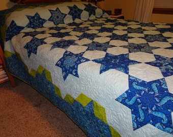 Queen or King Sized Quilt - Belize Morning Star Stack n Whack Patchwork Quilt