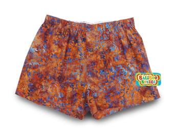 Orange Boxers Underwear, Beach Floral Boxers, Cotton Resortwear, Orange Underwear, Floral Resortwear Boxers