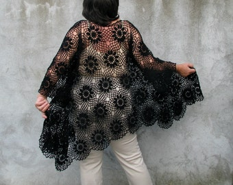 blouse top shirt lagenlook Black cotton boucle Plus Size Handcrocheted Tunic / Sweater XXL/XXXL