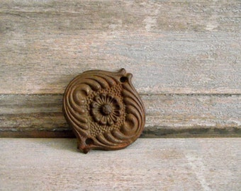 Decorative Cast Iron Drawer Pull Backplate , Furniture Applique Accent , Architectural Salvage Iron Detail , Vintage Cast Iron Supplies