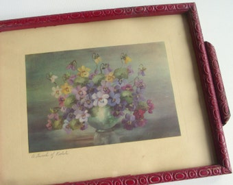 Vintage Floral Still Life Print / A Bunch of Violets / Framed Still Life / Bouquet of Panies / Cottage Chic Floral Wall Decor