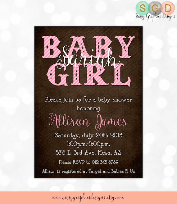 Girl Baby Shower Invite - It\'s a Girl Shower Rustic Pink and Brown ...