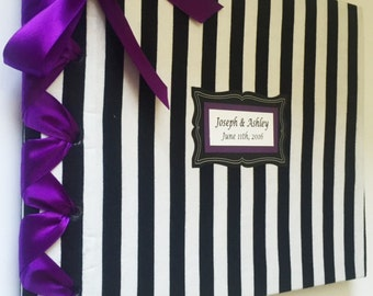 Black and White Stripe Guestbook, Halloween Wedding Guestbook, Halloween Party Guestbook, Gothic Wedding Guestbook, Fall Wedding Guestbook (