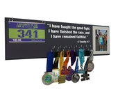 Medal display rack : inspirational quote, I have fought the fight, I have finished the race and i have remained faithful. 2 Timothy 4.7