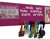 Gift for her, Run Disney medals display rack, And she ran happily ever after, Gifts for women runners