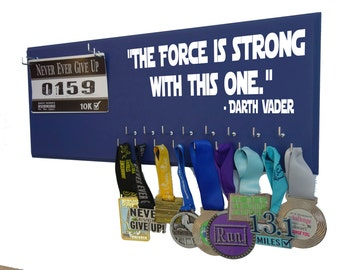 running, Running medal holder - running medal holder and race bibs - running medal and race bibs hanger - The force is strong with this one
